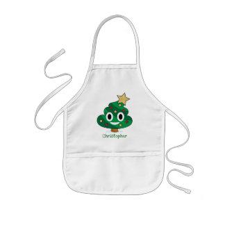 Christmas Tree Poop Emoji Kids Apron