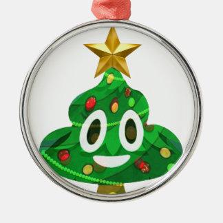 Christmas Tree Poop Emoji Metal Ornament