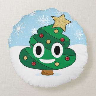 Christmas Tree Poop Emoji Pillow