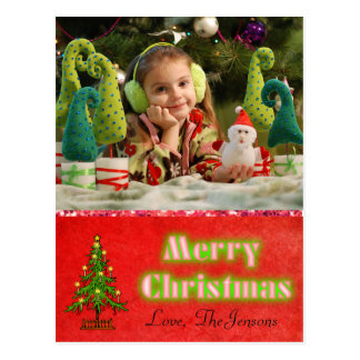 Christmas Tree  Postcard Personalized Red