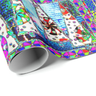 Christmas Tree Psychedelic Collage Wrapping Paper