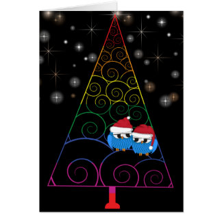 Christmas Tree Rainbow And Two Owls Card