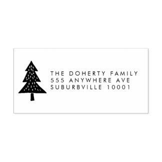 Christmas Tree Return Address Wooden Stamp