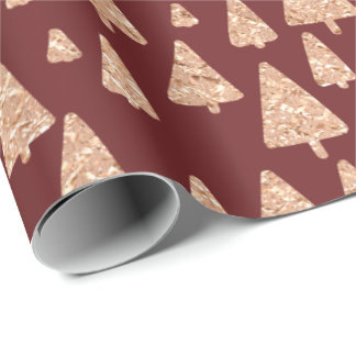 Christmas Tree Rose Gold Glitter Burgundy Maroon Wrapping Paper