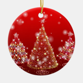 Christmas tree round ceramic ornament