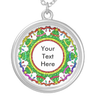 Christmas Tree Round Necklace