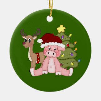 Christmas Tree & Rudolf Pig Ornament