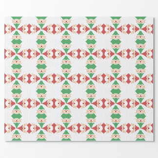 Christmas Tree Santa & Elf Wrapping Paper