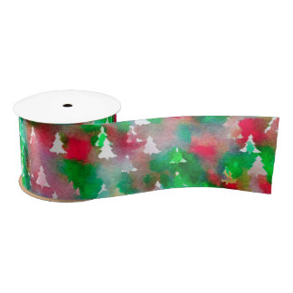 Christmas Tree Satin Ribbon Watercolor Pattern