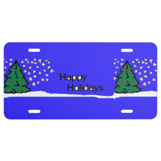 Christmas tree scene with stars and snow XMAS16 License Plate