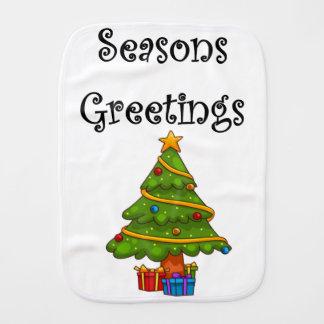 Christmas Tree Seasons Greetings Burp Cloth