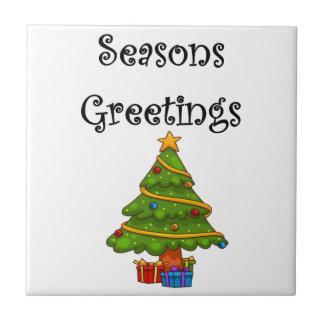 Christmas Tree Seasons Greetings Tile
