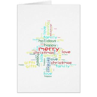 Christmas tree shaped wordart greeting card