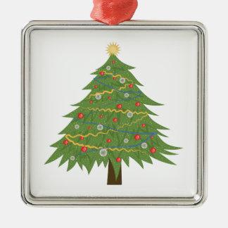 Christmas Tree Silver-Colored Square Ornament