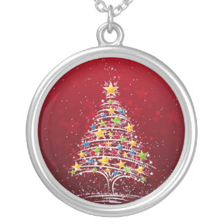 Christmas Tree Silver Plated Necklace