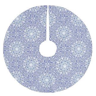 Christmas Tree Skirt Blue White Star Pattern Brushed Polyester Tree Skirt