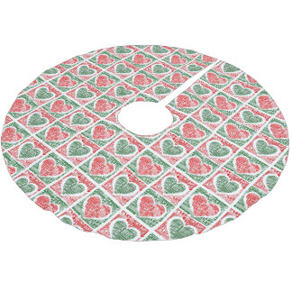 Christmas Tree Skirt Red Green Hearts Let It Snow Brushed Polyester Tree Skirt