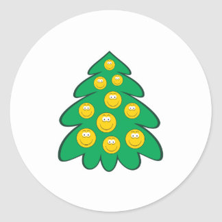 Christmas Tree  Smiley Face Classic Round Sticker
