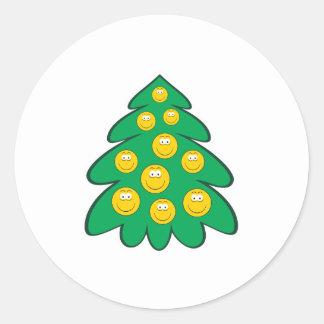 Christmas Tree  Smiley Face Round Sticker