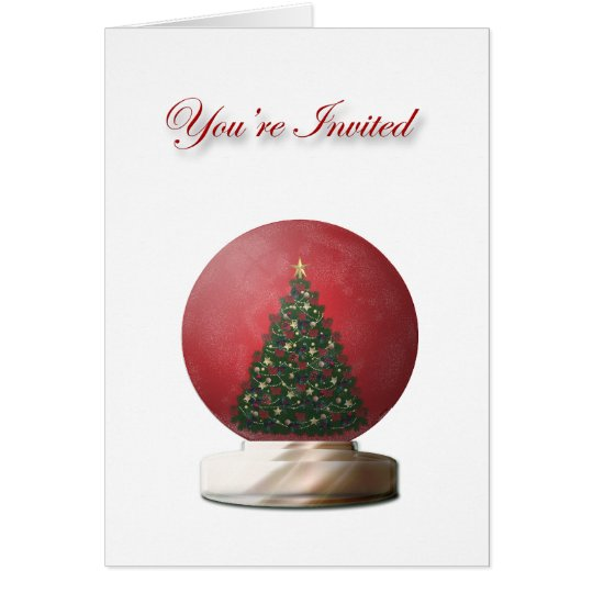 Christmas Tree Snow Globe Invitation