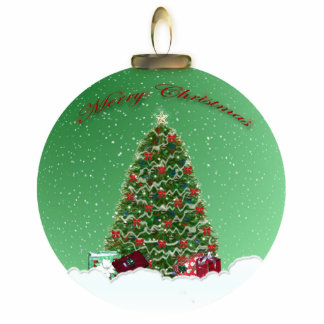 Christmas Tree Snow Globe Ornament Photo Sculpture Ornament