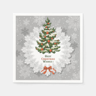 Christmas Tree, Snowflake and Red Christmas Balls Paper Napkin