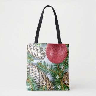 Christmas tree, Snowflake & Pinecone Tote bag