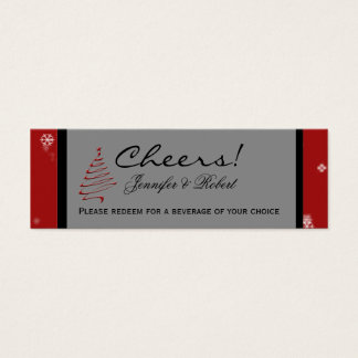 Christmas Tree Snowflake Red Wedding Drink Tickets