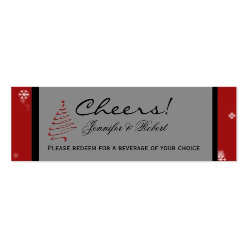 Christmas Tree Snowflake Red Wedding Drink Tickets Business Card ...