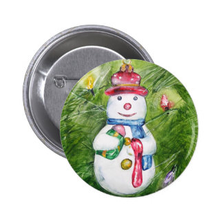 Christmas Tree Snowman Button