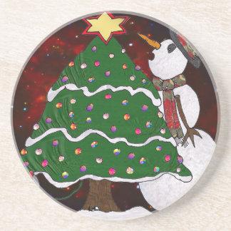 Christmas Tree Snowman Surprise Art Print Drink Coaster