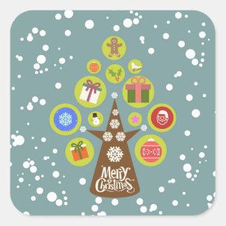 Christmas tree square sticker