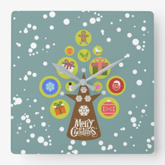 Christmas tree square wall clock