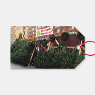 Christmas Tree Stand Upper West Side New York City Gift Tags