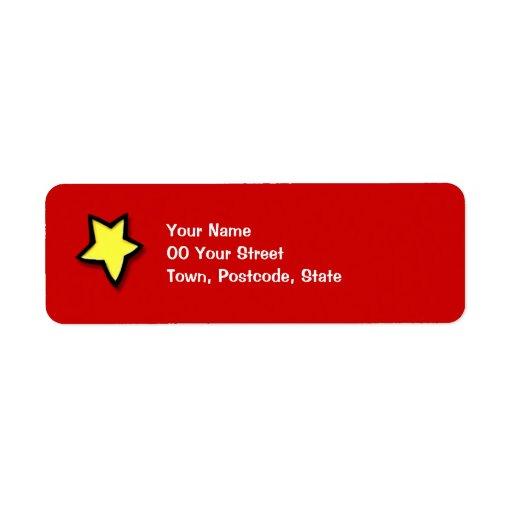 Christmas Tree Star red Return Address Label