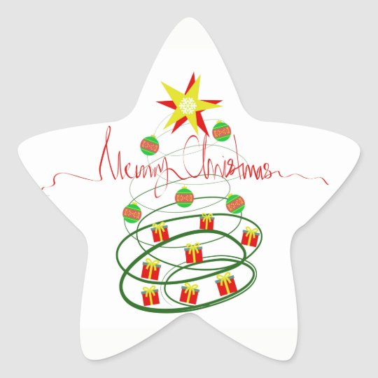 Christmas tree star sticker