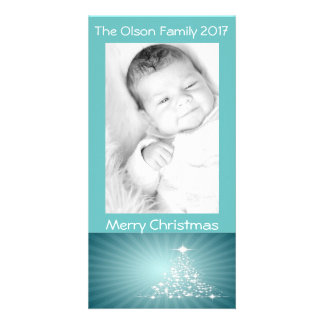 Christmas Tree Stars Teal Background Personalize Card