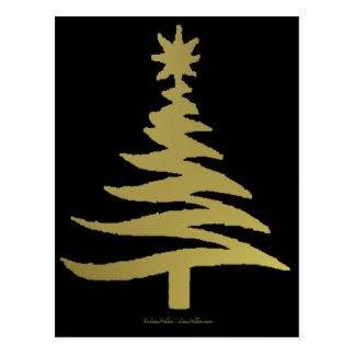 Christmas Tree Stencil Gold Postcard
