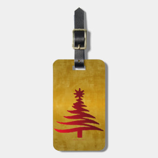 Christmas Tree Stencil Red on Gold Luggage Tag