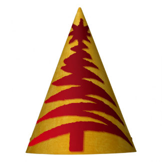 Christmas Tree Stencil Red on Gold Party Hat