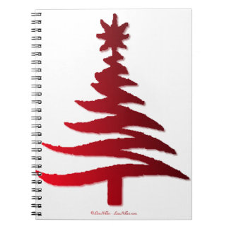 Christmas Tree Stencil Red Spiral Note Book