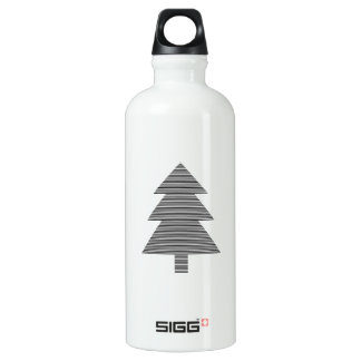 Christmas tree - strips - black. water bottle