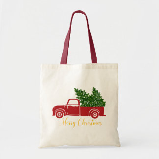 Christmas tree truck Tote Bag