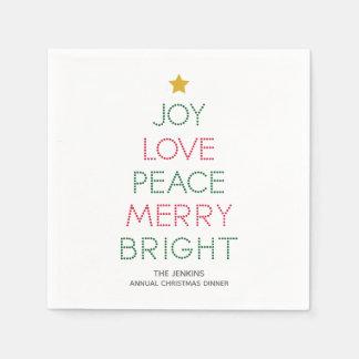 Christmas Tree Typography Christmas Napkin Paper Napkins