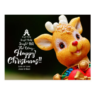 Christmas Tree Typography with Jingle Bells Song Postcard