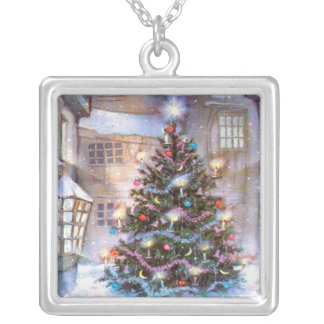 Christmas Tree Vintage Silver Plated Necklace