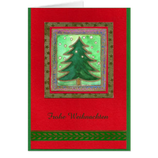 CHRISTMAS TREE WATER COLOR COLLAGE - glad Card