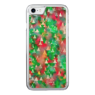 Christmas Tree Watercolor Pattern Carved iPhone 8/7 Case