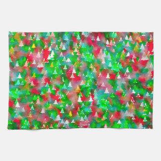 Christmas Tree Watercolor Pattern Kitchen Towel