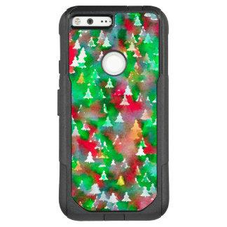 Christmas Tree Watercolor Pattern OtterBox Commuter Google Pixel XL Case